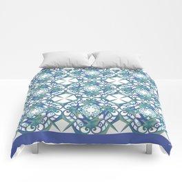 Thanksgiving Tiled - Blue White Comforters