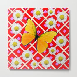 Red Color Shasta Daisys & yellow butterfly Pattern Garden Art Metal Print