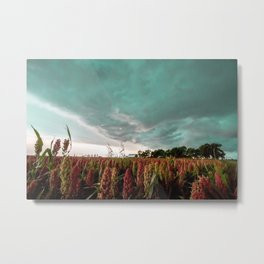 In the Maize - Storm Advances Over Farm in Oklahoma Metal Print