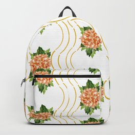 Coral and Deep Yellow Hydrangea Trellis Backpack