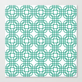Emerald Geometric Lattice Pattern Canvas Print