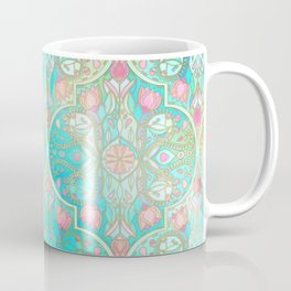Floral Moroccan in Spring Pastels - Aqua, Pink, Mint & Peach Coffee Mug