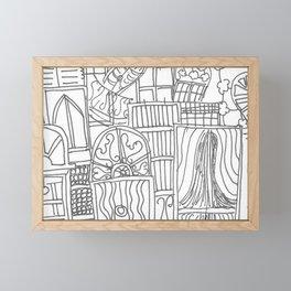 Paris architecture doodle Framed Mini Art Print