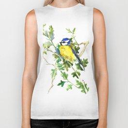 Blue Tit on Oak Tree, Bird, Bird art, yellow green Blue summer Biker Tank