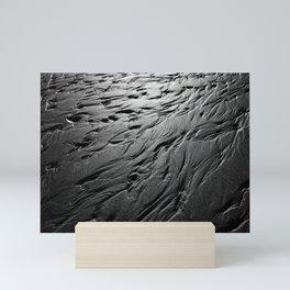 Black and white beach patterns Mini Art Print