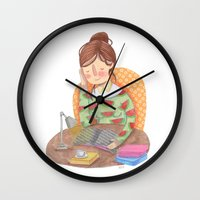 reading Wall Clocks featuring Reading by Maria Garcia