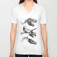 trex V-neck T-shirts featuring Jurassic Bloom - Black version. by Sinpiggyhead