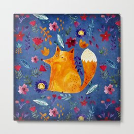 The Smart Fox in Flower Garden Metal Print