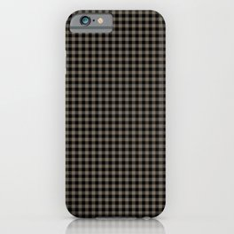 Mini Black and Sandstone Brown Western Cowboy Buffalo Check iPhone Case