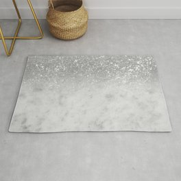 White Marble Silver Ombre Glitter Glam #1 #shiny #gem #decor #art #society6 Rug