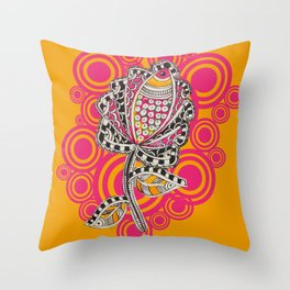 Madhubani - Fish Flower 2 Throw Pillow
