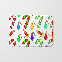 Christmas Lights, Candy Canes and Candles Bath Mat
