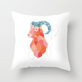 Low Poly Big Horned Sheep Throw Pillow