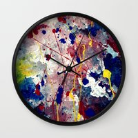 fireworks Wall Clocks featuring Fireworks by Tia Hank