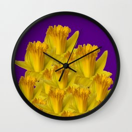 ROYAL PURPLE YELLOW SPRING DAFFODILS Wall Clock