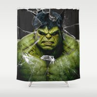 daenerys Shower Curtains featuring Angry HULK  by bimorecreative
