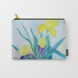 yellow iris on a blue background Carry-All Pouch