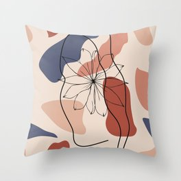 female face abstract shapes minimal modern one line art sketch Throw Pillow