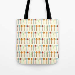 Kitchen Utensil Colored Silhouettes on Cream Tote Bag
