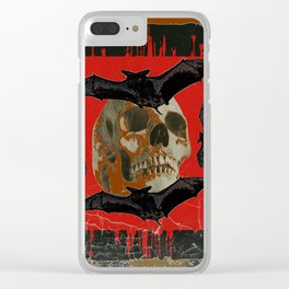 GRUNGY HALLOWEEN BAT INFESTED HAUNTED SKULL Clear iPhone Case