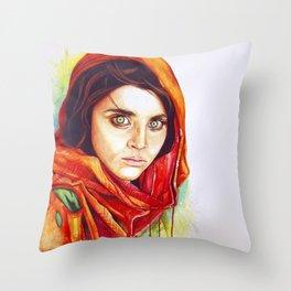 Sharbat Gula  Throw Pillow