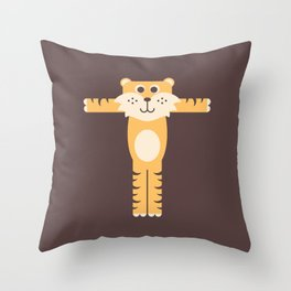 Letter T // Animal Alphabet // Tiger Monogram Throw Pillow