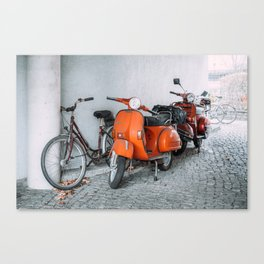 Let's go see the world on our Scooter Canvas Print