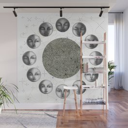 the moon's cycle on white Wall Mural