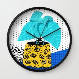 Totes magoats - memphis throwback retro house plant squiggle dot polka dot neon 1980s 80s style art Wall Clock