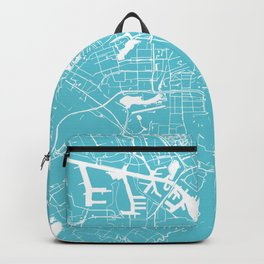Amsterdam Turquoise on White Street Map Backpack