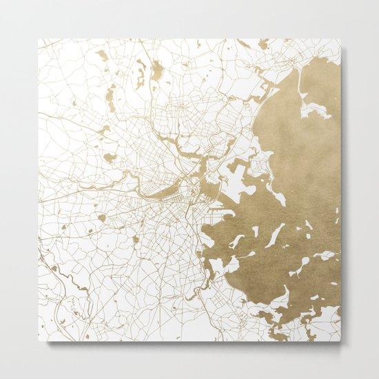 Boston White and Gold Map Metal Print