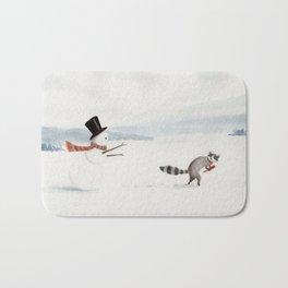 Snowman and Raccoon Bath Mat