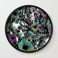 sandman Wall Clocks featuring Mrs. Sandman, melting rose skull pattern by Kristy Patterson Design