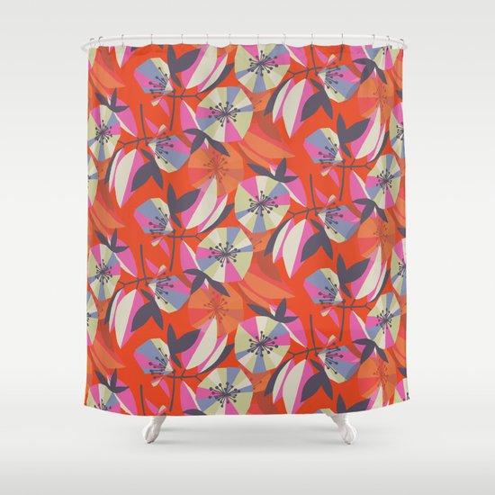 Art Deco Floral Repeat Shower Curtain