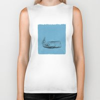the whale Biker Tanks featuring whale by Tina Siuda