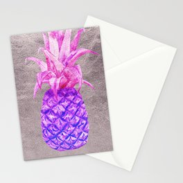 Pineapple on silver Stationery Cards