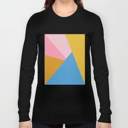Cute Colorful Diagonal Color Blocking Long Sleeve T-shirt