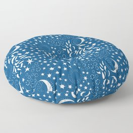 Moon Among the Stars - Classic Blue Floor Pillow