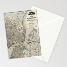 Brooklyn New York City Vintage Map Stationery Cards