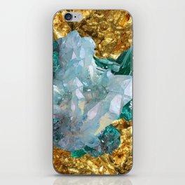 WHITE QUARTZ &  AQUAMARINE CRYSTALS  ON GOLD iPhone Skin