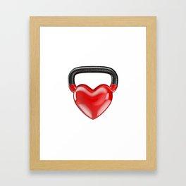 Kettlebell heart vinyl / 3D render of heavy heart shaped kettlebell Framed Art Print
