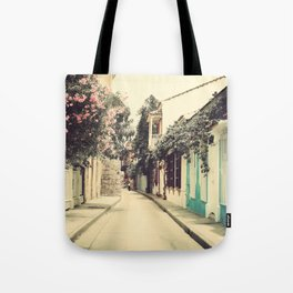 Just like a dream street, Cartagena (Retro and Vintage Urban, architecture photography) Tote Bag