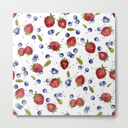 Strawberry, Blueberry, Mint Metal Print