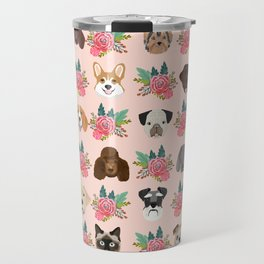 Dogs and cat breeds pet pattern cute faces corgi boston terrier husky airedale Travel Mug