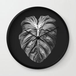 Monstera Deliciosa Black and White Wall Clock