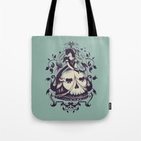 death Tote Bags featuring Mrs. Death by Enkel Dika