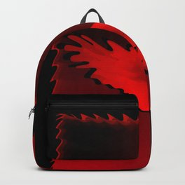 The emblem of an eagle with wings of bird in the frame. Medal with the image of an eagle on a red ba Backpack