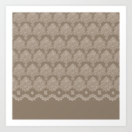 Coffee Color Damask Chenille with Lacy Edge Art Print