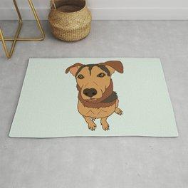 Happy Mutt Puppy Dog Illustrated Print Rug