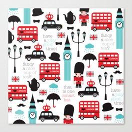 London icons illustration pattern print Canvas Print